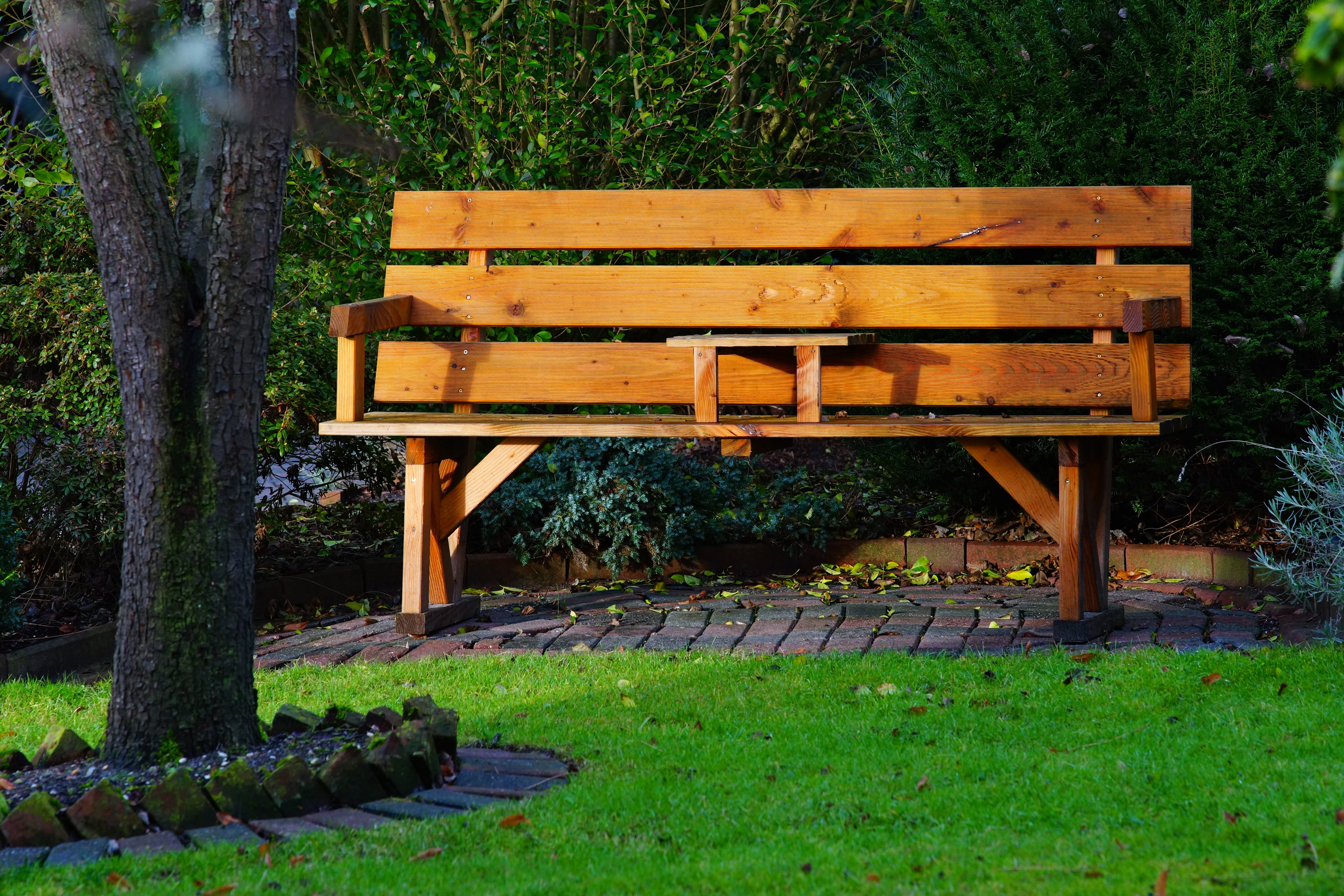 Extra pressure-treated wood can be used to make a beautiful garden bench.