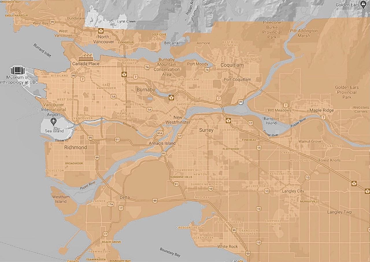 Biiibo delivery zones Vancouver